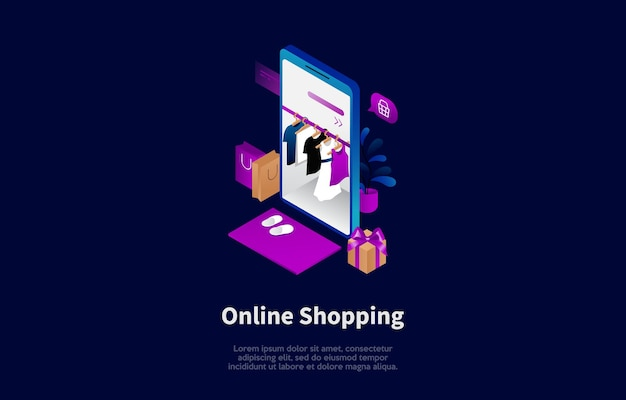 Online clothes shopping conceptual illustration in cartoon 3d style.