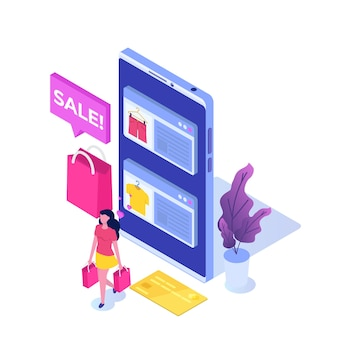 Online clothes  shopping, e-commerce sales, digital marketing.