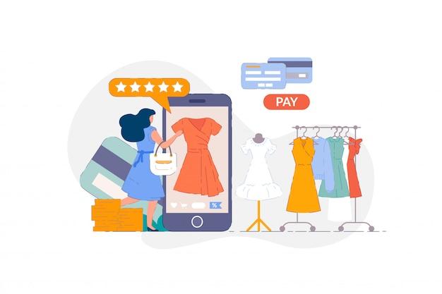 Интернет магазин одежды. женщина покупки на смартфон мобильное приложение и платить за покупку одежды повседневные платья с помощью кредитной карты. покупатель выбирает одежду в интернет-магазине