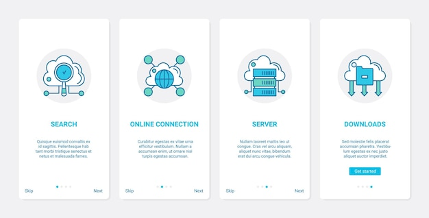 Online cloud connection global technology ux, ui onboarding mobile app page screen set