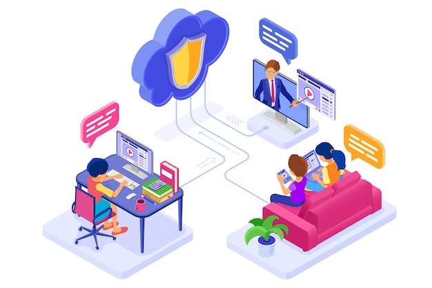 Online collaboration education or distance exam through protected cloud technology. isometric character internet course e-learning from home. learning on tablet and laptop with teacher isolated
