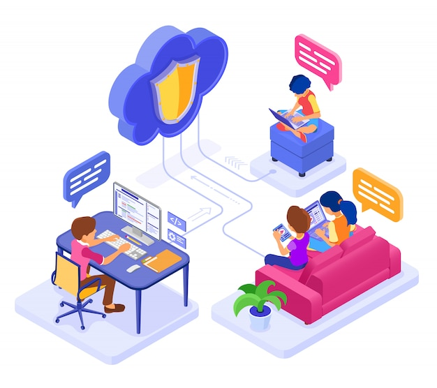 Online collaboration education or distance exam through protected cloud technology. isometric character work internet course e-learning from home. isolated