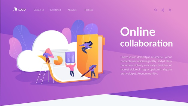 Online collaboration landing page template