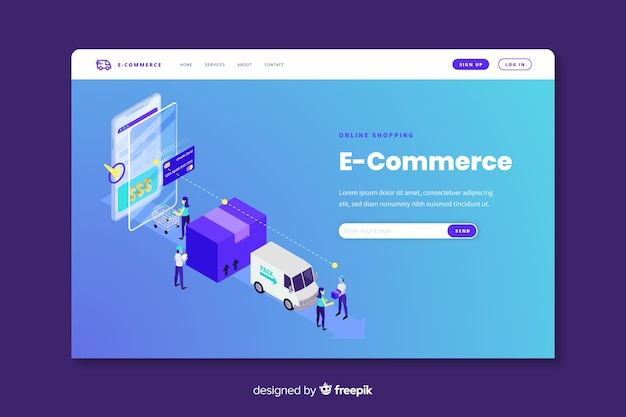 Online commerce landing page template