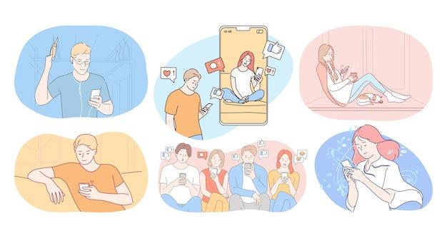 スマートフォンのコンセプトでオンラインコミュニケーションとチャット。女の子と男の子の十代の若者たちの漫画のキャラクター