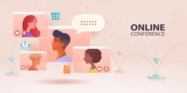 Online communication banner with video call of a business group meeting on pink background