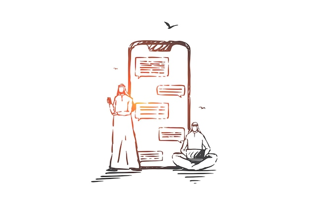 Online communication, chatting concept illustration