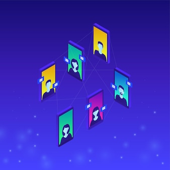 Online communication concept in isometric