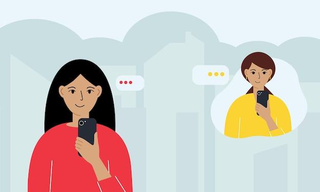 Концепция онлайн-коммуникации. онлайн-переписка людей в сообщениях. женщина и женщина переписываются по телефону. векторная графика.