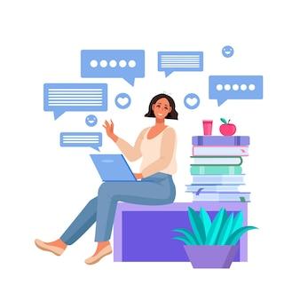 オンラインコミュニケーション、ラップトップを使用して座っている女性との教育コンセプト、インターネットで自宅で働く