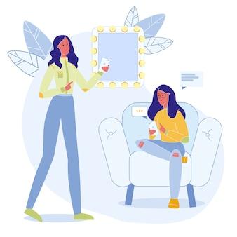 Online communication flat illustration