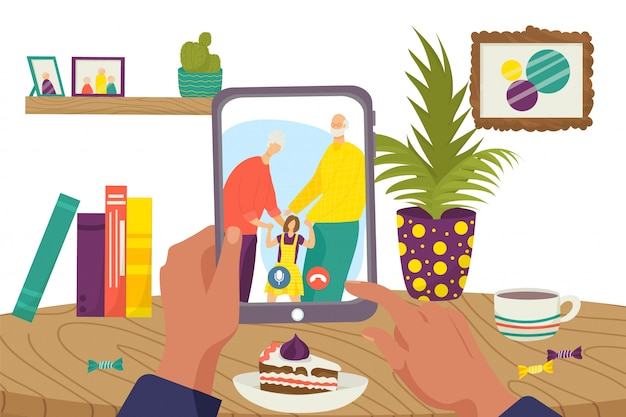 Онлайн-общение в интернет-технологиях, иллюстрация людей семьи видеозвонка в сети. чат-конференция в компьютере, женщина-мужчина на экране. счастливая бабушка, дедушка с ребенком.