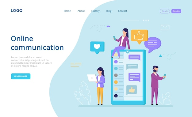 Online communication landing page in cartoon style.