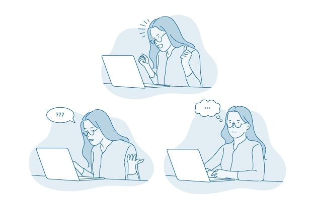 온라인 커뮤니케이션, 노트북, 비즈니스 아이디어 개념.