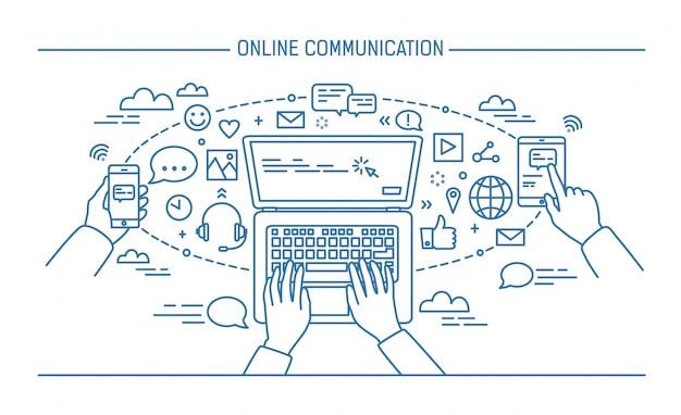 オンライン通信ラインアートバナー。ガジェット、情報技術、通信、メッセージング、チャット、メディア。輪郭のフラットスタイルのベクトル図。