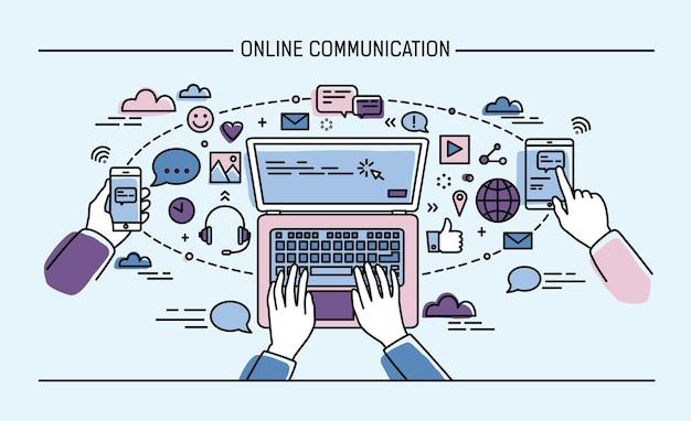 オンライン通信線画イラスト。ガジェット、情報技術、通信、メッセージング、チャット、メディア