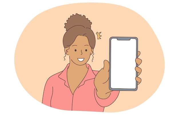 オンラインコミュニケーション、スマートフォン画面のコンセプト。スマートフォンの画面を示す若い笑顔の黒人女性