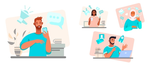 Online communication and teamwork  illustration with diverse multinational people