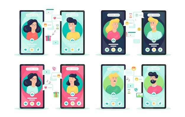 Online communication through mobile phone concept set