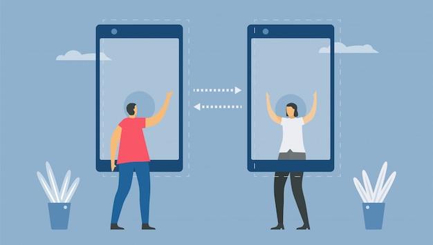 Онлайн общение с технологией смартфона. социальный дистанцирующий дизайн для тренда этого года. это коронавирус или covid-19. иллюстрация в плоском стиле. работа из дома.