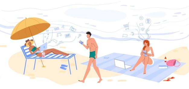 Онлайн-общение, работающее над обучением на тропическом пляже. мужчина женщина, используя ноутбук, смартфон беспроводной цифровой технологии, отдыхая на экзотическом острове песка. будьте всегда на связи в любом месте