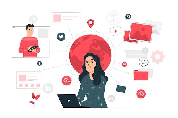 Онлайн концепция иллюстрации