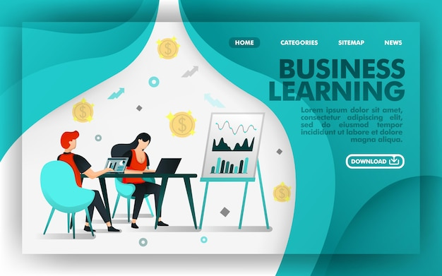 Online concept website business learning