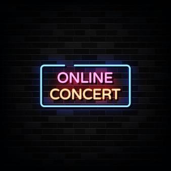온라인 콘서트 네온. 디자인 템플릿 네온 스타일