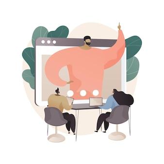평면 스타일의 온라인 회의 추상 그림