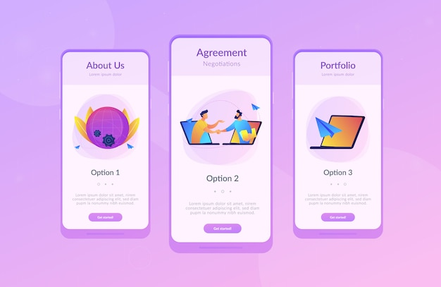 Online conference and business app interface template.