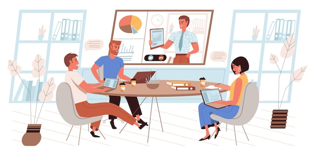 Online conference concept in flat design. employees at business meeting, discussing work, listening to colleague report on huge screen, communicating via video call people scene. vector illustration