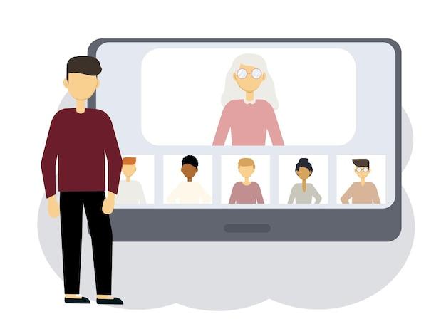 オンライン会議のイラスト。男性と女性の肖像画を持つコンピューターの隣の男