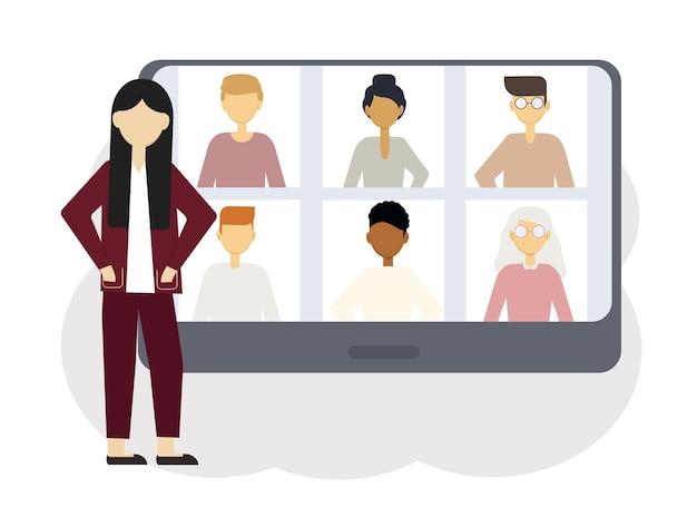 オンライン会議のイラスト。男性と女性の肖像画を持つコンピューターの隣の女性