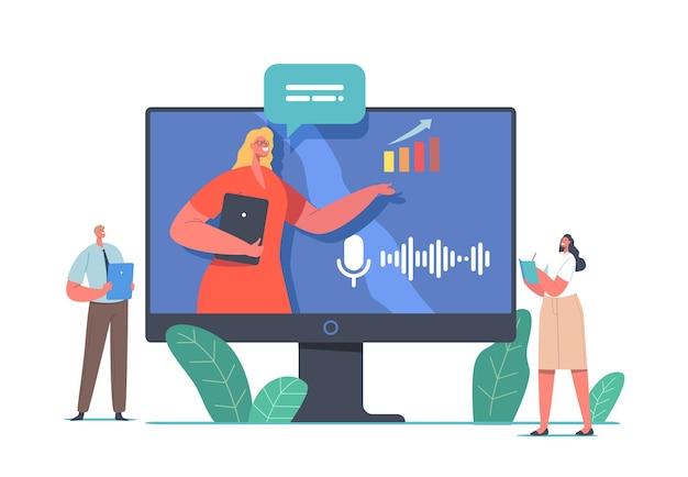 オンライン会議、会議のプレゼンテーションまたはセミナー。画面上にデータ分析統計を提示する仮想金融相談を与えるビジネストレーナーのキャラクター。漫画の人々のベクトル図