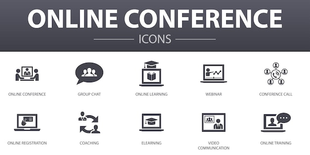 Online conference simple concept icons set. contains such icons as group chat, online learning, webinar, conference call and more, can be used for web, logo, ui/ux