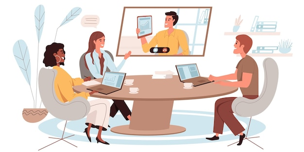 Online conference web illustration in flat style