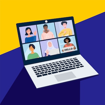 Online conference with friends through a laptop. illustration