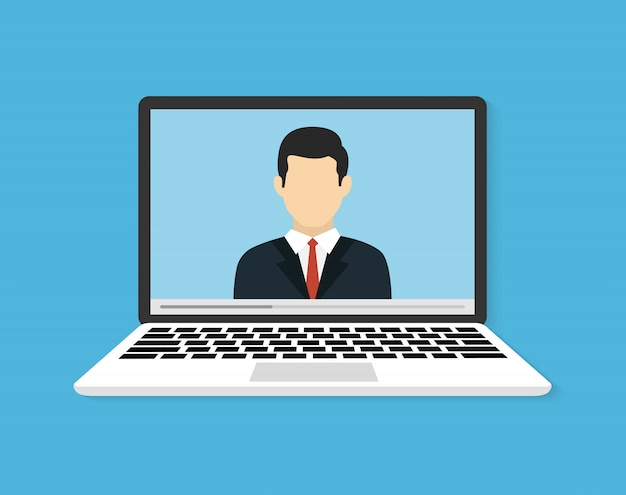 オンライン会議またはトレーニング。オンライン学習のイラストまたはウェビナー。フラットのベクトル図