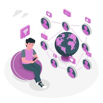 Online connectionconcept illustration