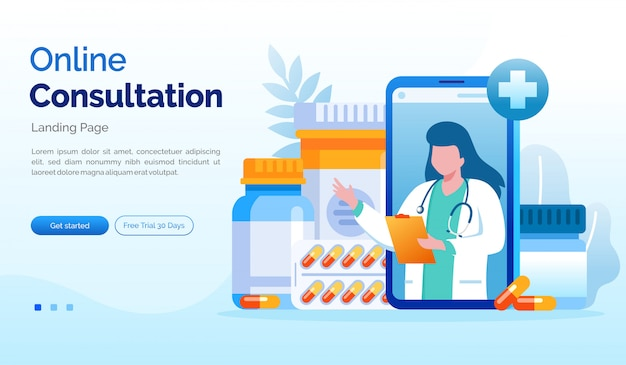 Online consultation landing page website illustration flat template