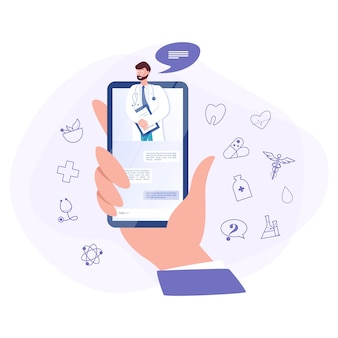 Online consultation with doctor concept