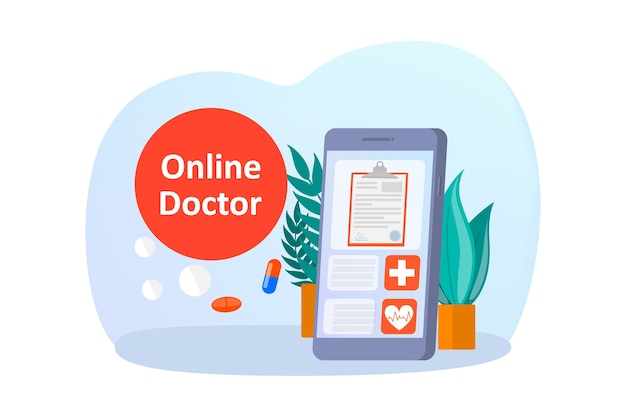 Online consultation with doctor illustration