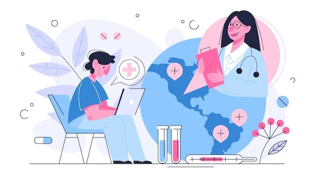 Онлайн-консультация врача. удаленное лечение на смартфоне или компьютере. мобильный сервис. идея лечиться отовсюду. иллюстрация