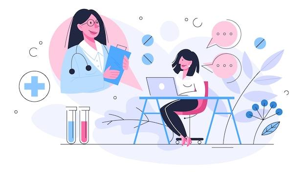 Онлайн-консультация врача. удаленное лечение на смартфоне или компьютере. мобильный сервис. иллюстрация