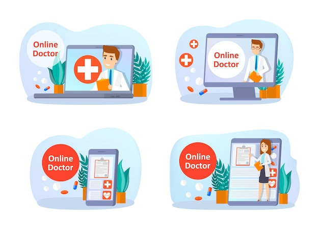 Online consultation with doctor set. remote medical treatment on the smartphone or computer. mobile service. isolated vector flat illustration