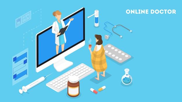 女医とのオンライン相談。スマートフォンで遠隔医療。モバイルサービス。等角投影図