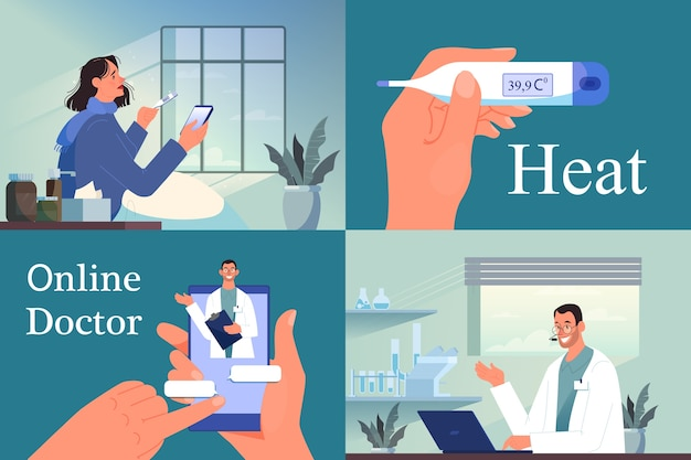 Online consultation with male doctor. remote medical treatment. mobile service. sick woman with a heat chatting with medical worker on smartphone.   illustration