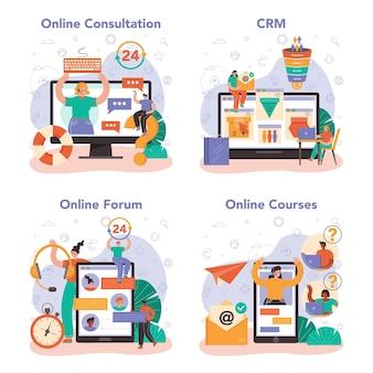 オンラインコンサルティングサービスまたはプラットフォームセット。戦略管理とトラブルシューティング、調査と推奨のアイデア。オンライン相談、crm、フォーラム、コース。フラットベクトルイラスト