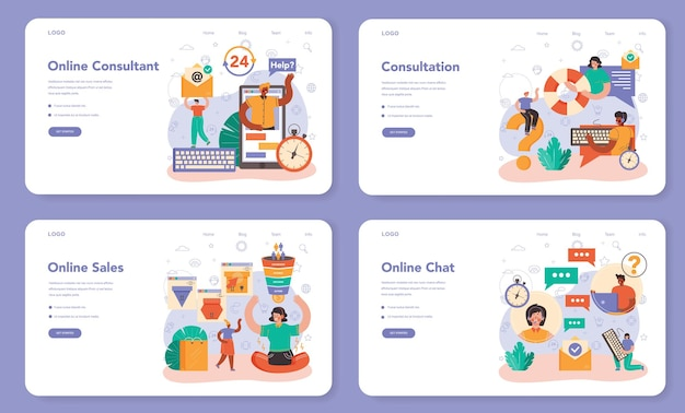 Online consulting service web banner or landing page set. idea of strategy management and troubleshooting, research and recommendation. isolated flat vector illustration
