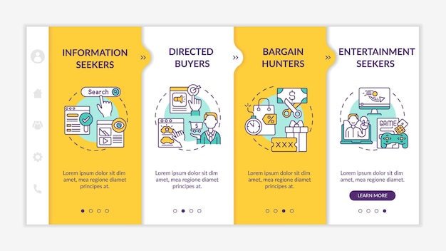 Online consumer behavior onboarding vector template. responsive mobile website with icons. web page walkthrough 4 step screens. information, enjoyment search color concept with linear illustrations